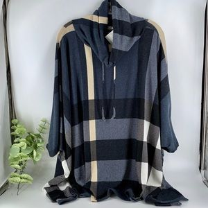 New Boutique Navy Plaid Poncho with Sleeves